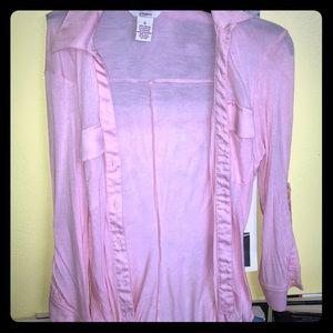 Pink silk button up